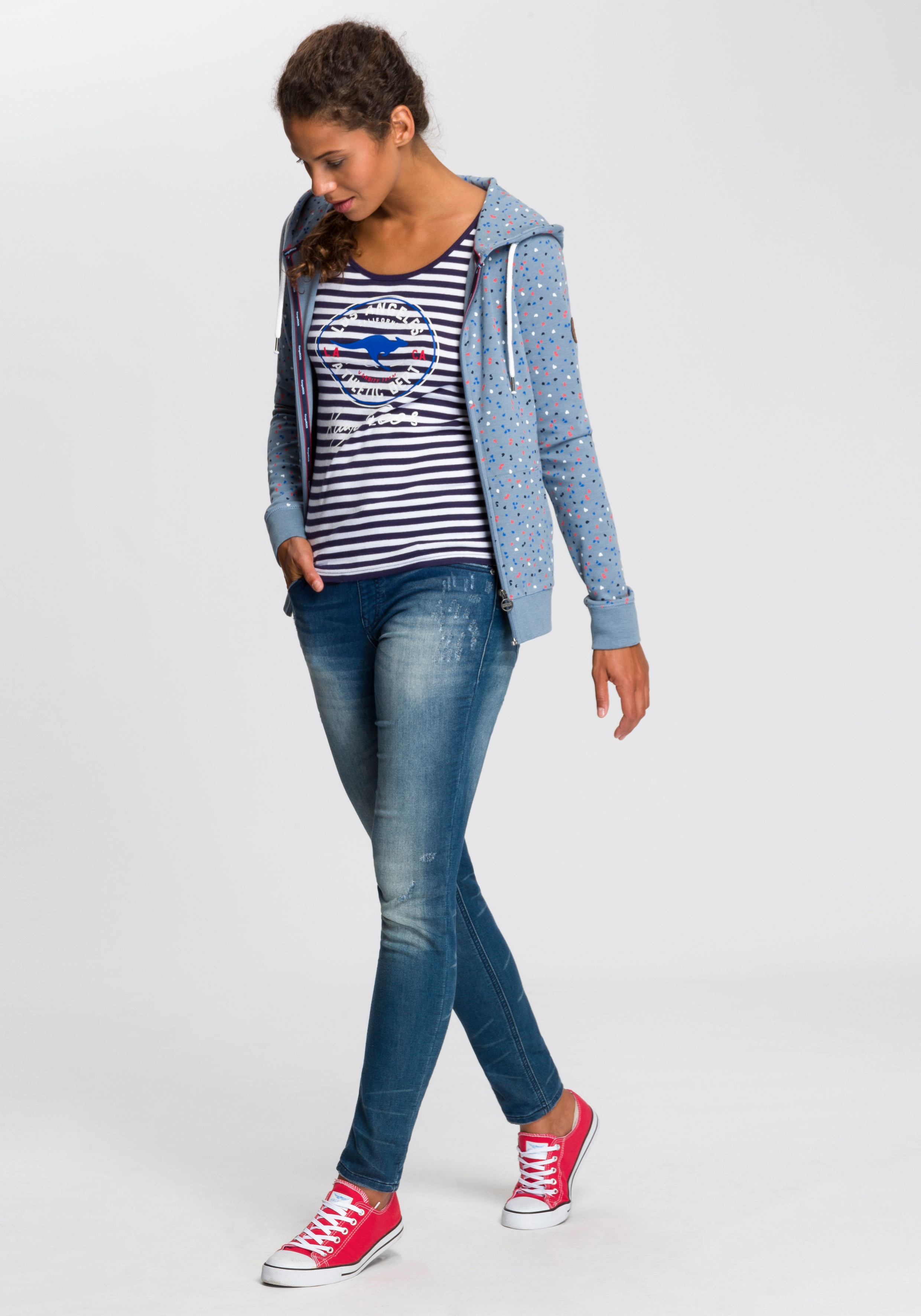 KangaROOS Kapuzensweatjacke mit sportlichem Minimal-Print Damen Sweatjacken