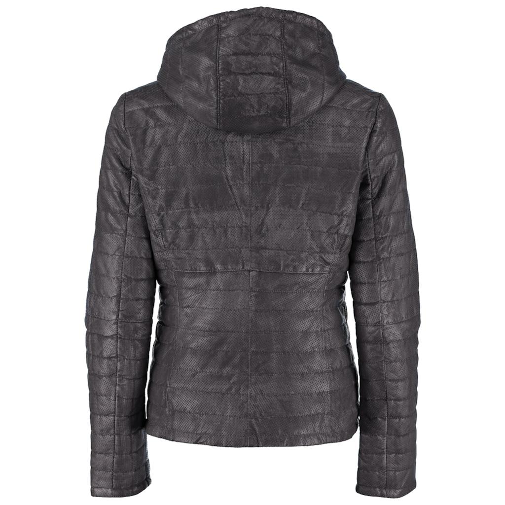 DNR Jackets Gesteppte Damen Lederjacke mit Kapuze