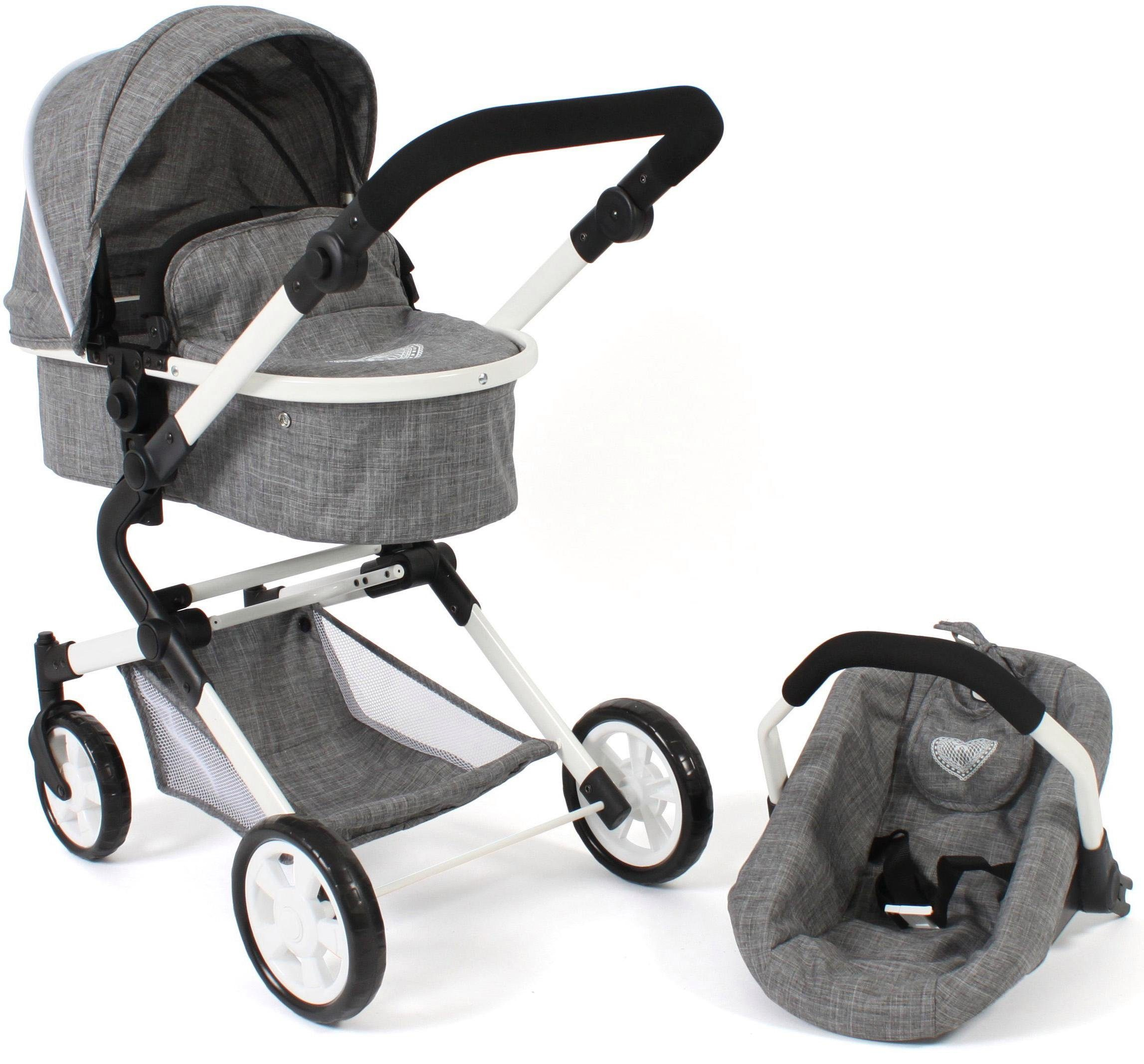 CHIC2000 Kombi-Puppenwagen Lia, Jeans grey, mit Puppen-Autositz grau Kinder Puppenzubehör Puppen