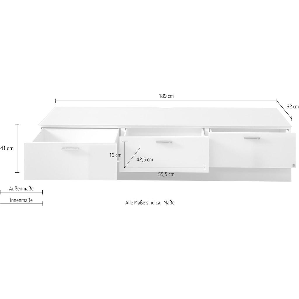 LEONARDO Lowboard »CUBE«, auf Sockel, mit 3 Schubladen, Breite 189 cm