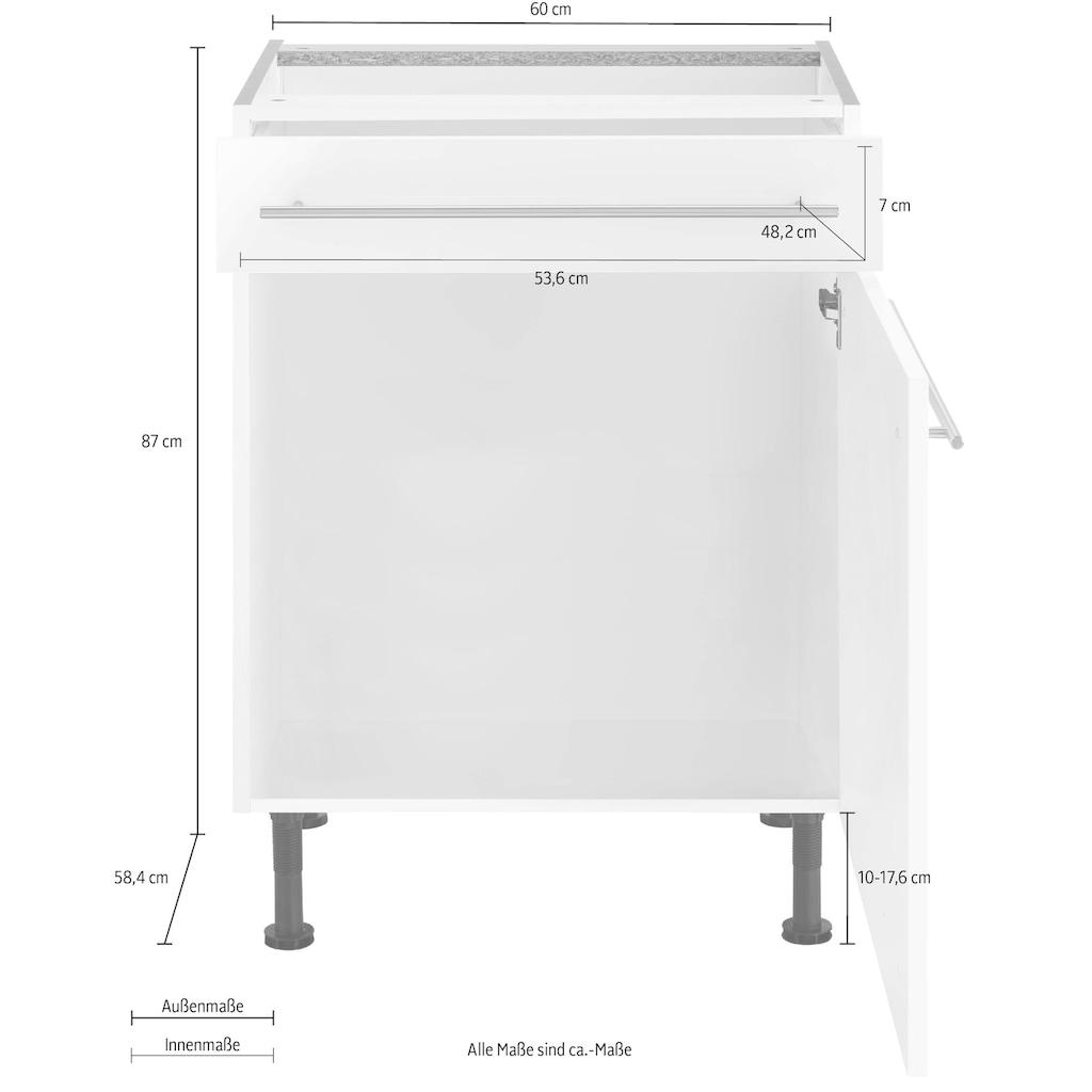OPTIFIT Unterschrank »Bern«, 60 cm breit, mit 1 Tür, mit 1 Schubkasten, mit höhenverstellbaren Füßen, mit Metallgriffen