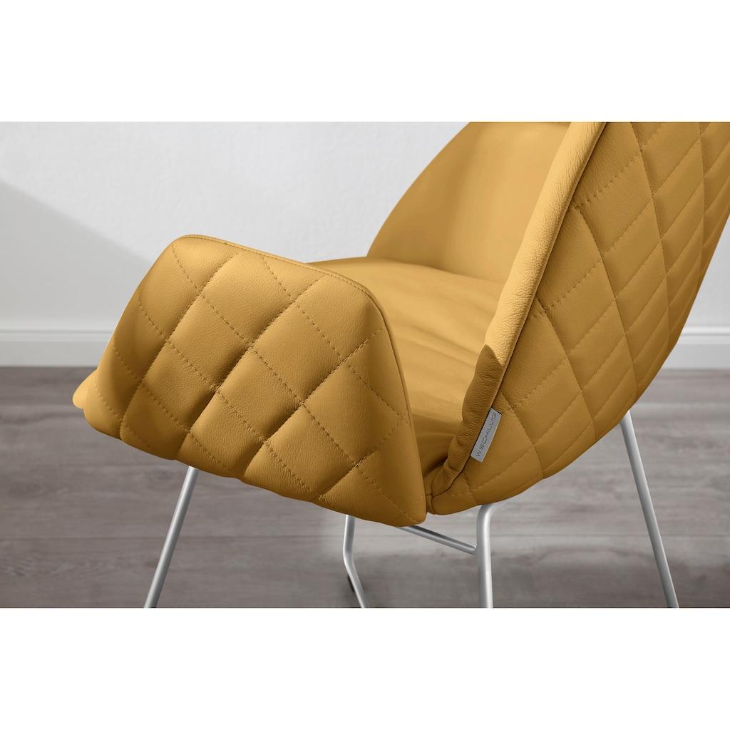W.SCHILLIG Armlehnstuhl »lotta«, 2er- oder 4er-Set, mit Rücken- & Seitenteilsteppung, Drahtrohrgestell in Chrom glänzend