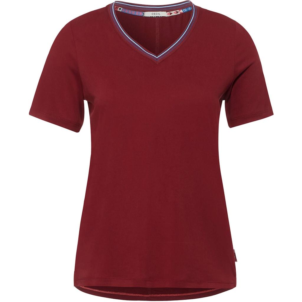 Cecil V-Shirt, mit Kontrastbesatz am Ausschnitt