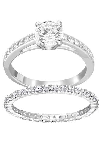 Swarovski Ring - Set »I Do, weiss, rhodiniert, 5184981, 5184979, 5184317, 5184980, 5184982« (Set, 2 tlg.) kaufen