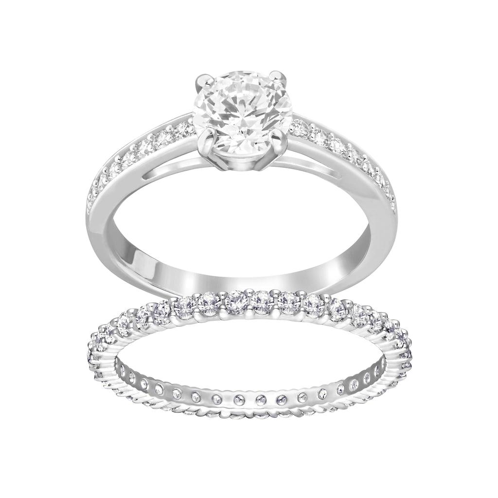 Swarovski Ring-Set »I Do, weiss, rhodiniert, 5184981, 5184979, 5184317, 5184980, 5184982«, (Set, 2 tlg.), mit Swarovski® Kristallen