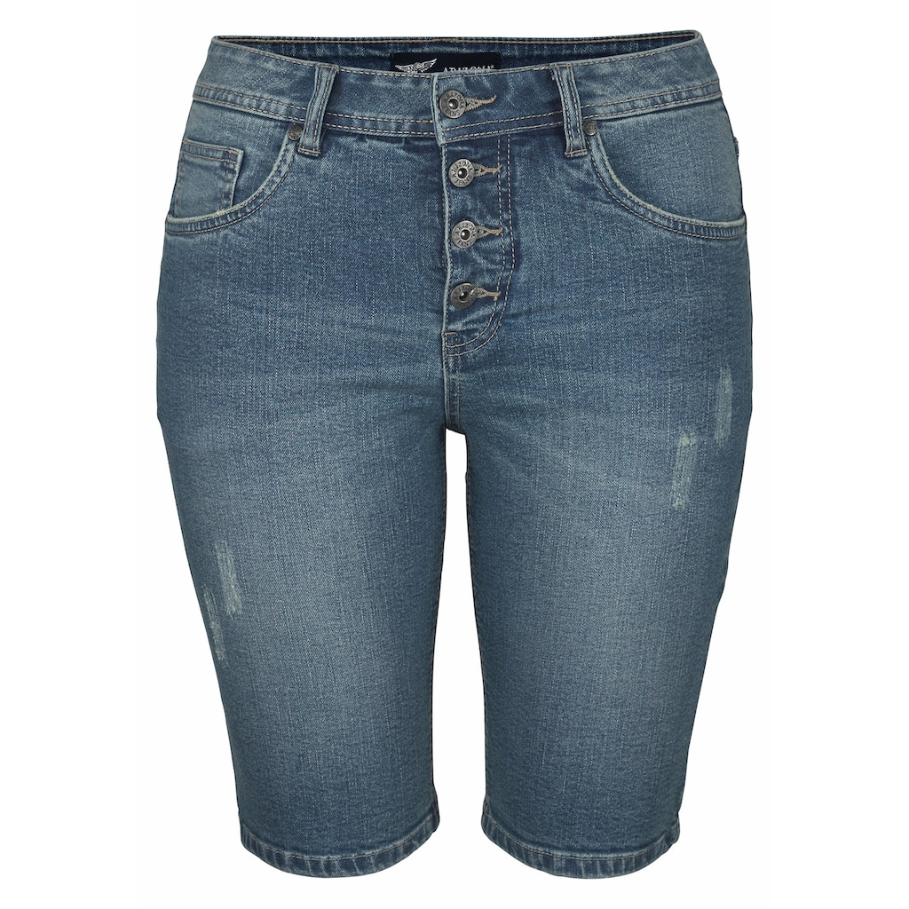 Arizona Jeansbermudas »mit sichtbarer Knopfleiste«, High Waist