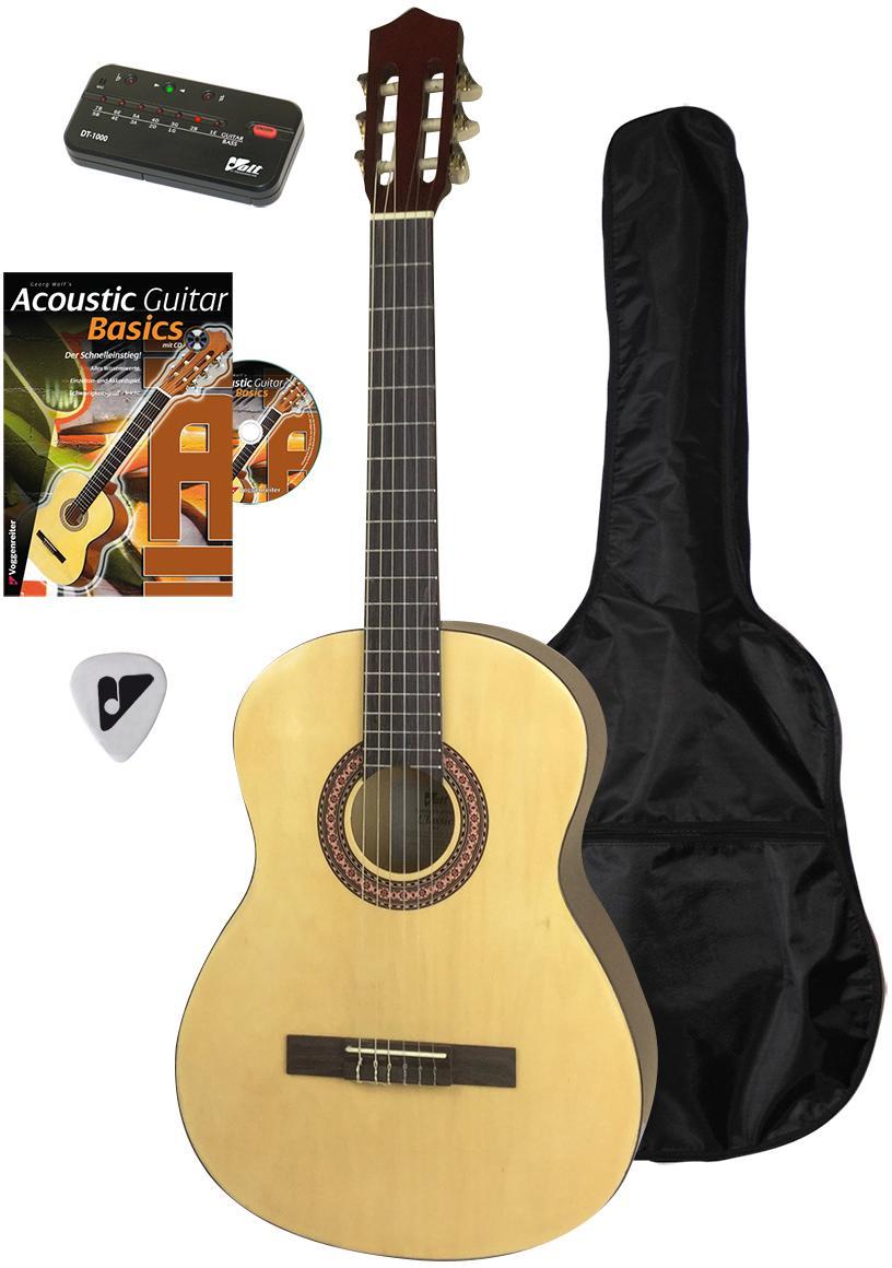 Voggenreiter Akustikgitarre Akustikgitarren-Set, 4/4 beige Audio SOFORT LIEFERBARE Technik