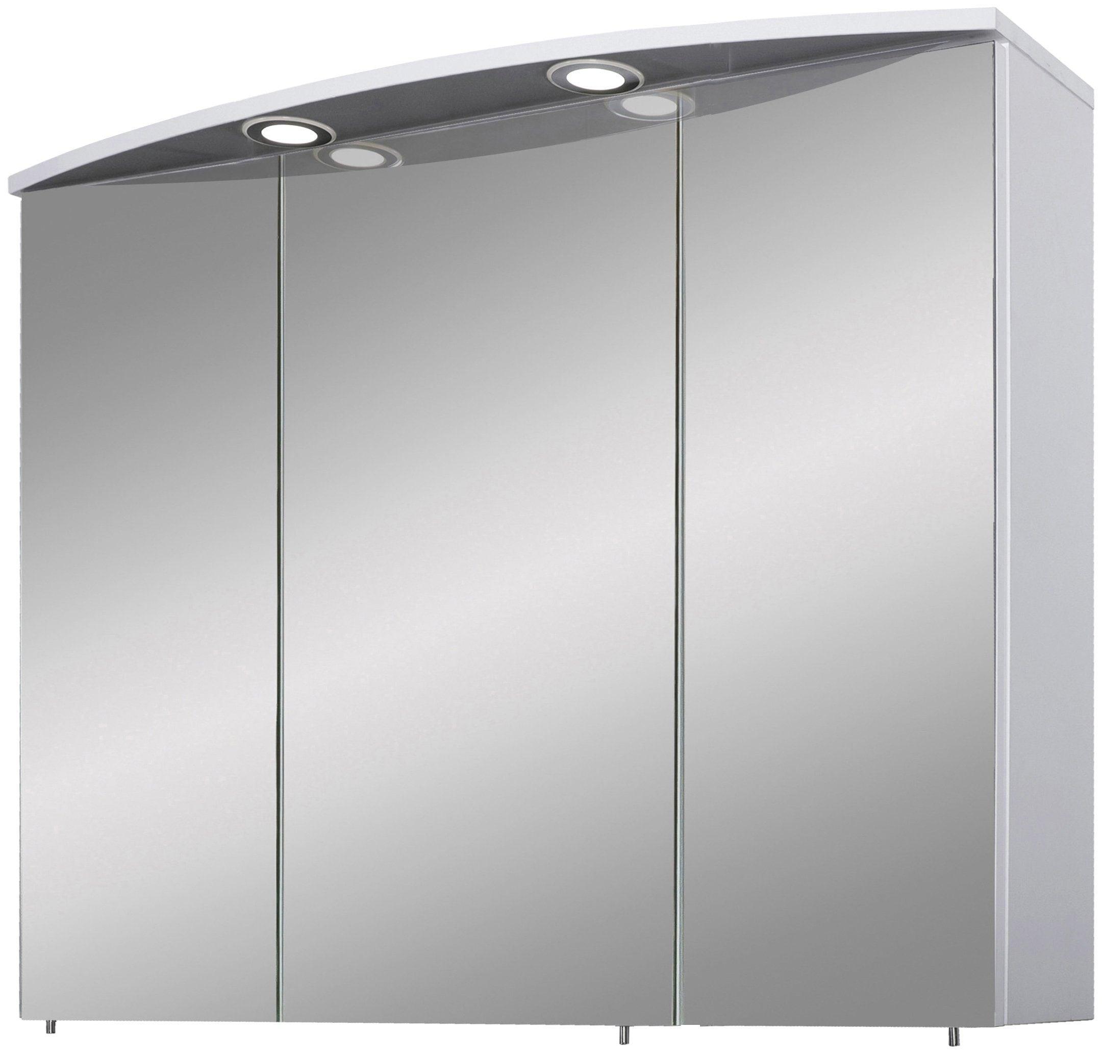 Schildmeyer Spiegelschrank Verona, Breite 90 cm, 3-türig, 2 LED-Einbaustrahler, Schalter-/Steckdosenbox, Glaseinlegeböden, Made in Germany