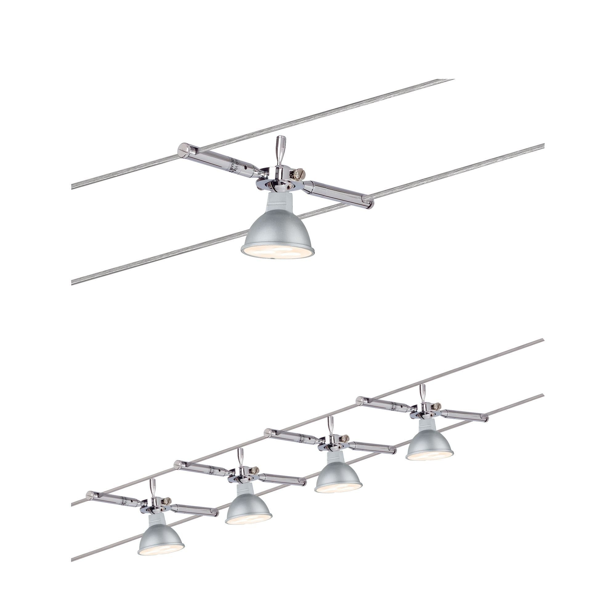 Paulmann LED Deckenleuchte Wohnzimmerlampe 4x4W TogoLED 230/12V, Chrom 230/12V, Chrom, GU 5,3, 1 St.