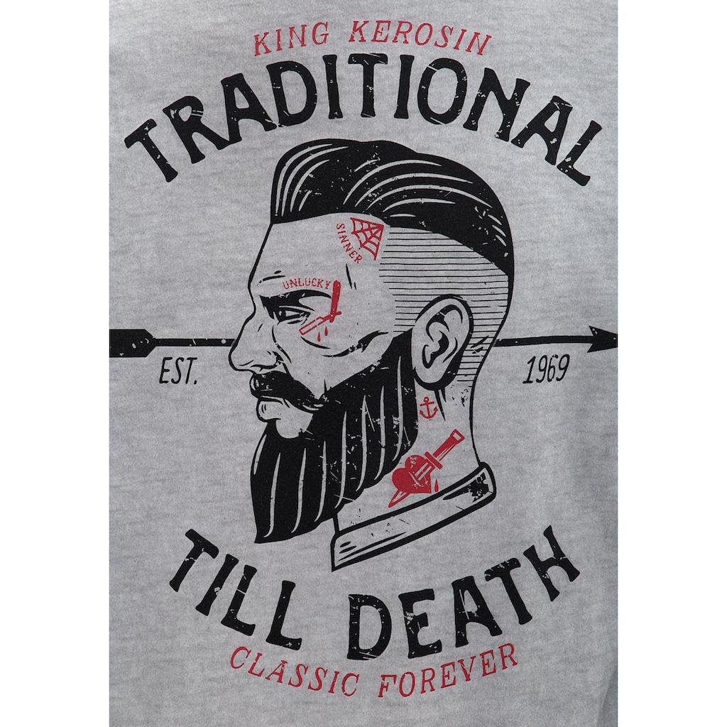 KingKerosin Langarmshirt »Traditional Till Death«, im Used-Look mit Front-Stickerei und Rückenprint