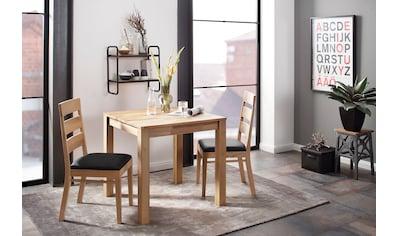 Home affaire Essgruppe »Soeren 1«, (Set, 3 tlg., Tisch 80 x 80, 2 Stühle, Polstersitz), aus Massivholz kaufen
