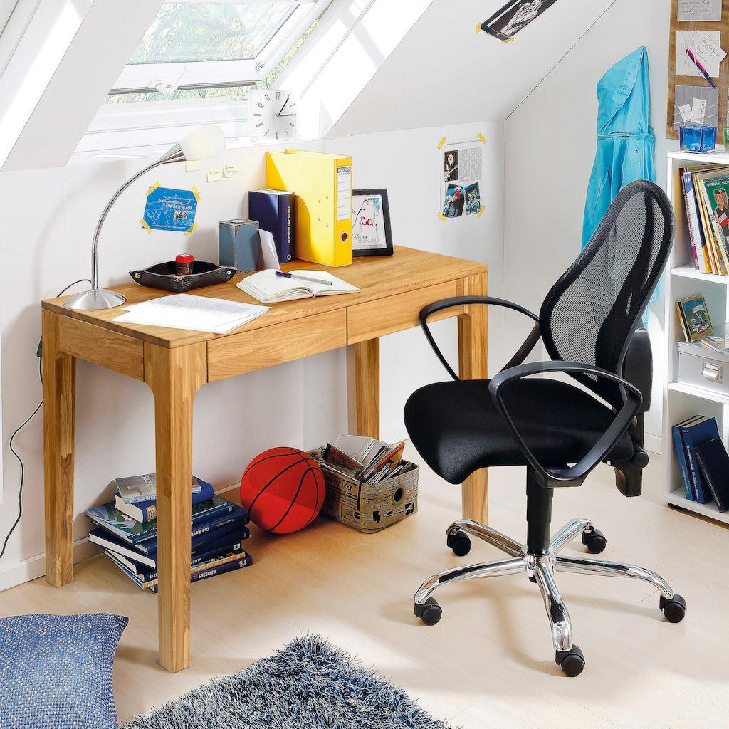 andas Schreibtisch »Marsens«, aus schönem massivem Eichenholz, mit zwei Schubladen, Breite 105 cm