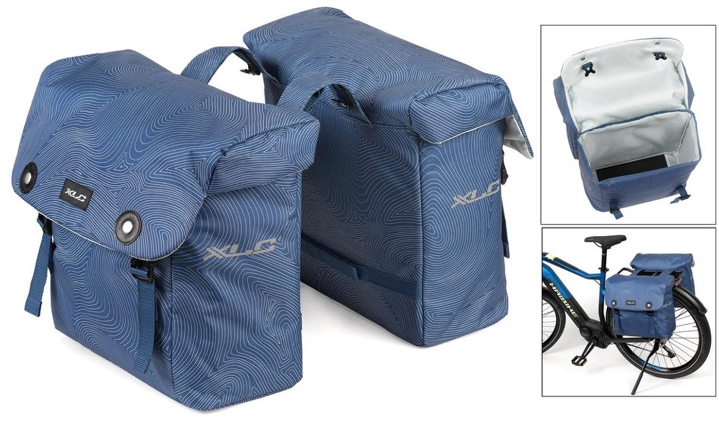 XLC Gepäckträgertasche Doppelpacktasche blau Fahrradtaschen Fahrradzubehör Fahrräder Zubehör Taschen