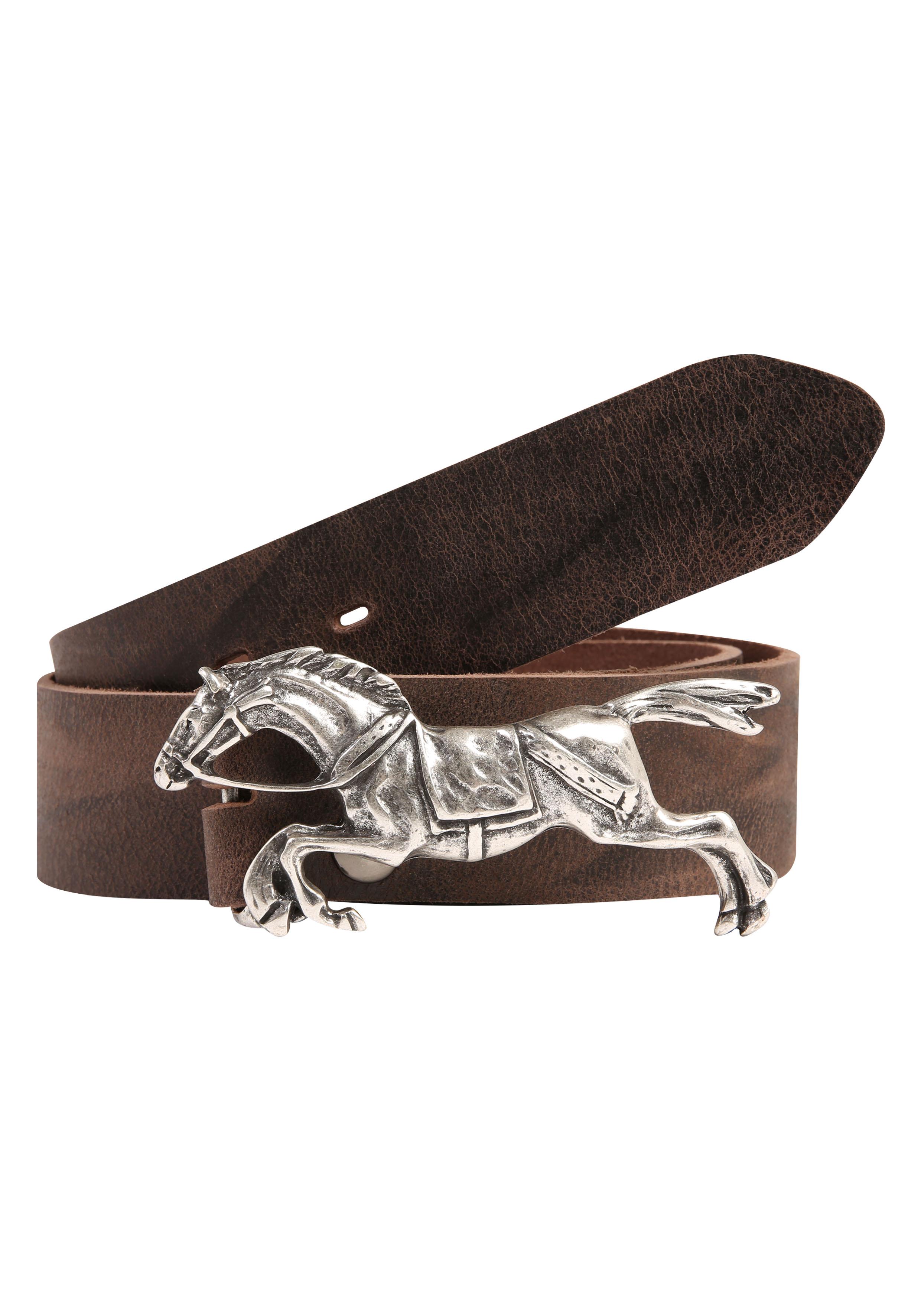 RETTUNGSRING by showroom 019° Ledergürtel, mit austauschbarer Rennpferd-Schließe braun Damen Ledergürtel Gürtel Accessoires 4260643965111