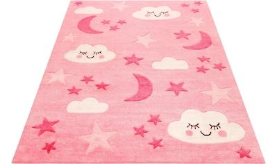 SMART KIDS Kinderteppich »LaLeLu«, rechteckig, 9 mm Höhe, Mond Sterne Wolken, Konturenschnitt kaufen