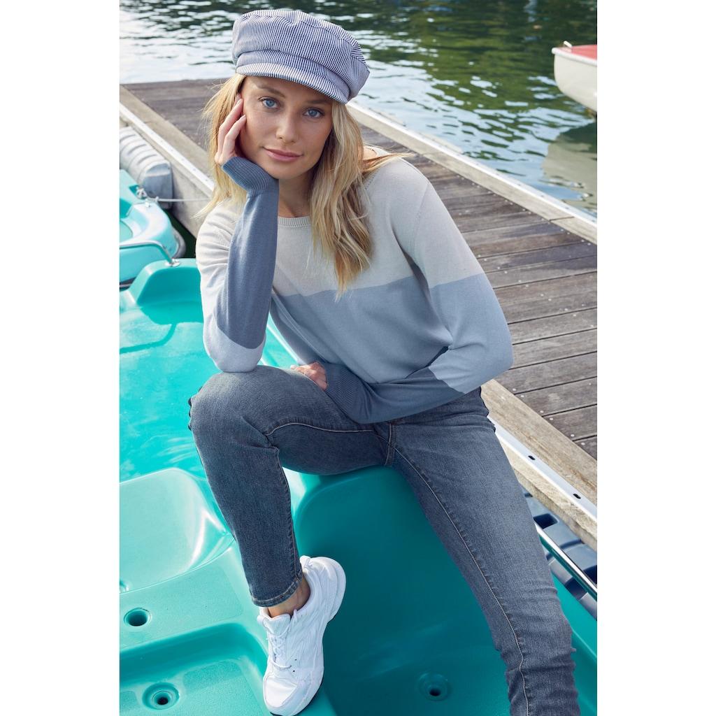 Aniston CASUAL Rundhalspullover, im Colorblocking - NEUE KOLLEKTION