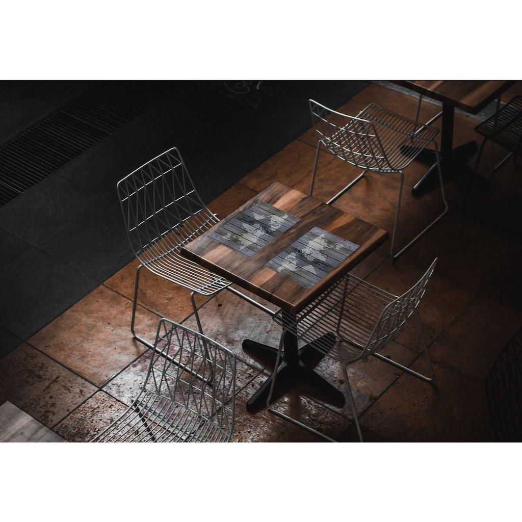 Contento Platzset »Matteo Weltkarte«, (Set, 4 St.), für den Innen- und Außenbereich, wasserabweisend, Holzoptik, 30x40 cm