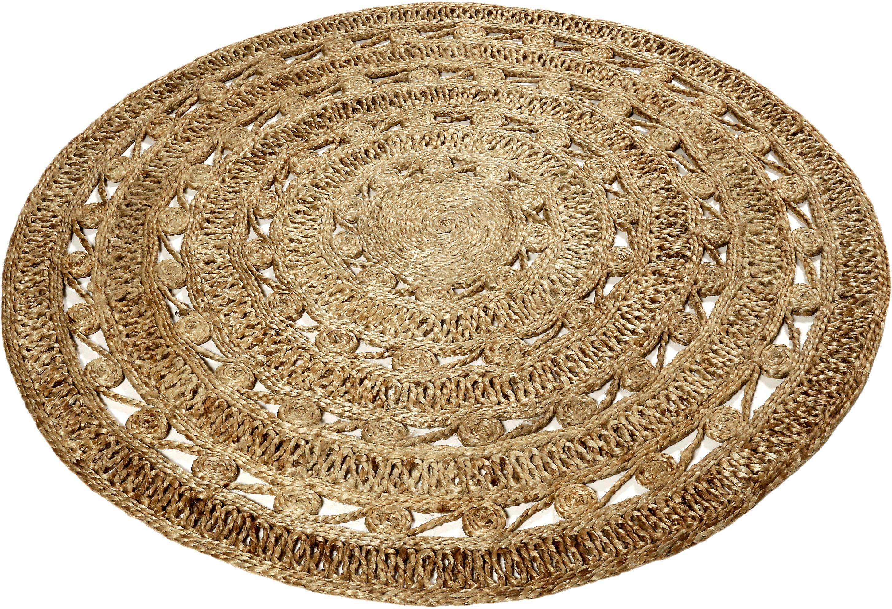 Teppich Crochet Nature Esprit rund Höhe 7 mm handgewebt