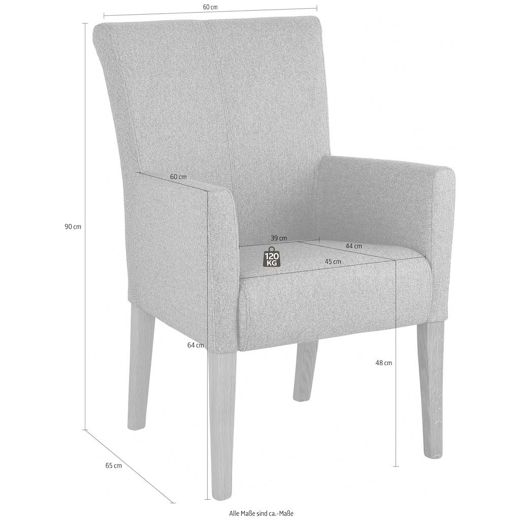 Home affaire Armlehnstuhl »King«, Beine aus massiver Buche, wengefarben lackiert