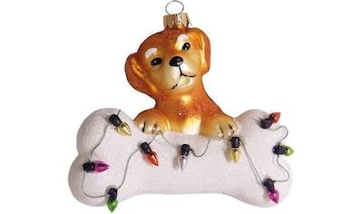 """Krebs Glas Lauscha Christbaumschmuck """"Hund mit Knochen & Lichterkette"""" (1 - teilig) kaufen"""