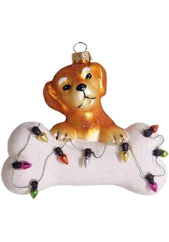 Krebs Glas Lauscha Christbaumschmuck »Hund mit Knochen & Lichterkette«, (1 tlg.), mundgeblasen kaufen