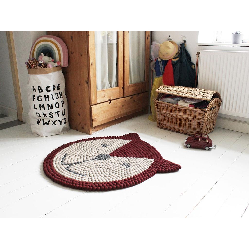 Wooldot Kinderteppich »Fuchs«, rund, 23 mm Höhe, Filzkugelteppich, 100 % Wolle, Handarbeit