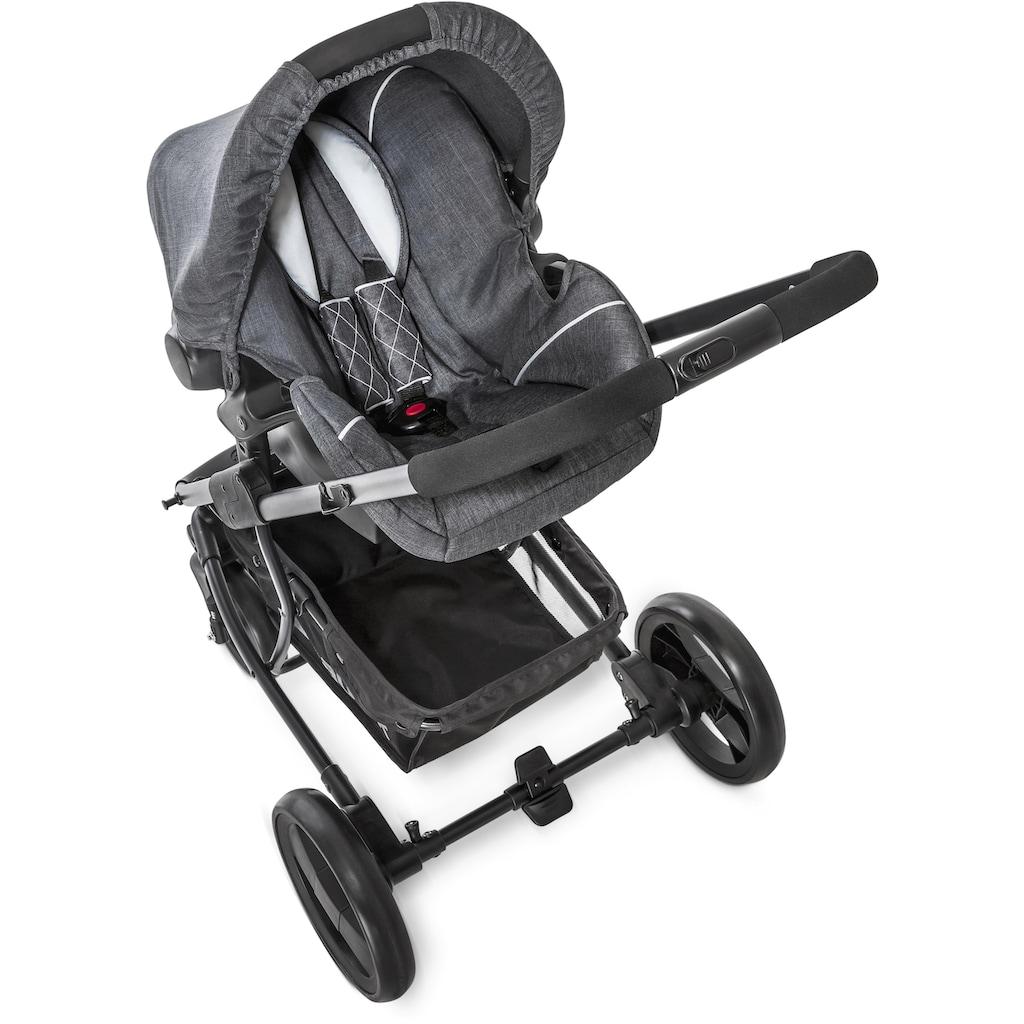 Hauck Kombi-Kinderwagen »Pacific 4 Shop N Drive, Melange Charcoal«, 25 kg, mit Babyschale; Kinderwagen