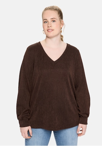 Sheego Langarmshirt, in Rippstruktur, mit V-Ausschnitt kaufen