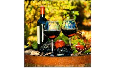 Artland Glasbild »Gläser Rotwein auf altem Fass« kaufen