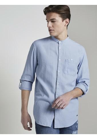 TOM TAILOR Denim Langarmhemd »Strukturiertes Hemd mit Stehkragen« kaufen