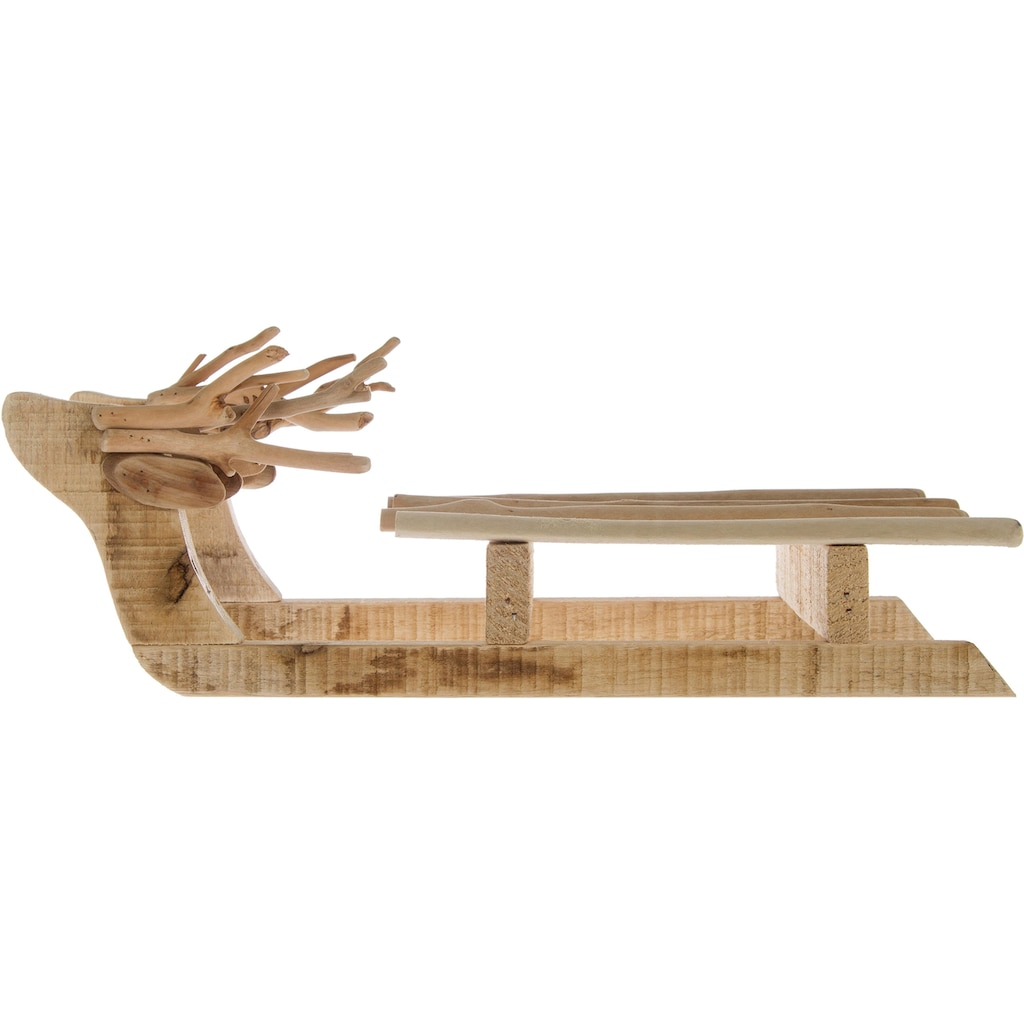 Dekoobjekt »Schlitten«, aus Holz, mit Ästen dekoriert