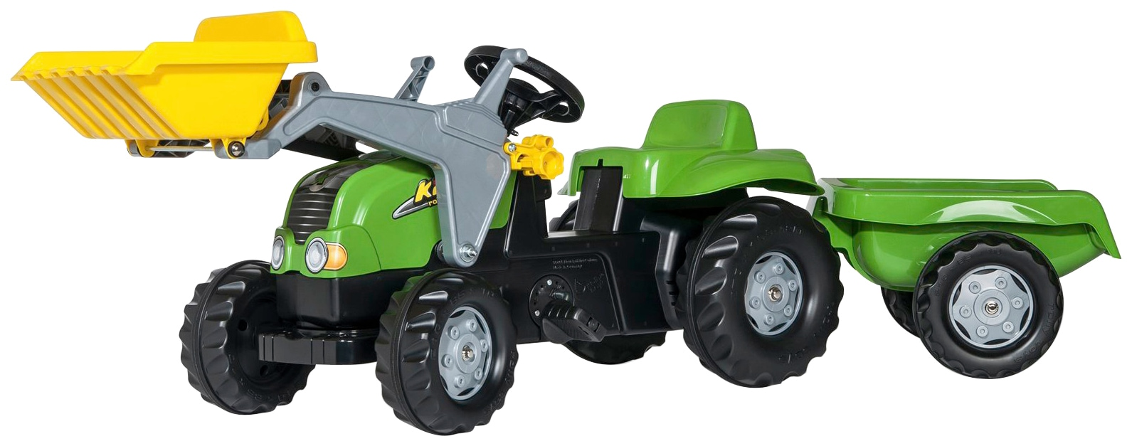 Rolly Toys Tretfahrzeug, Traktor mit Trailer und Lader grün Kinder Kettcar Tretfahrzeug Kinderfahrzeuge