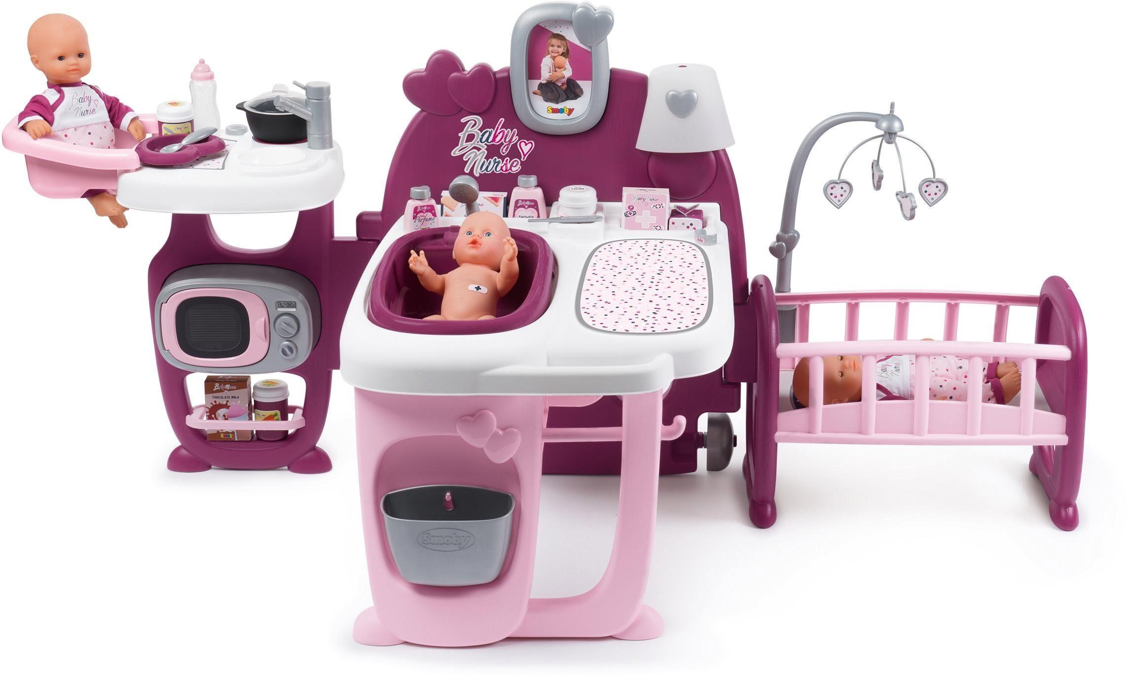 Smoby Puppen Pflegecenter Baby Nurse Puppen-Spielcenter rosa Kinder Ab 3-5 Jahren Altersempfehlung Puppenmöbel
