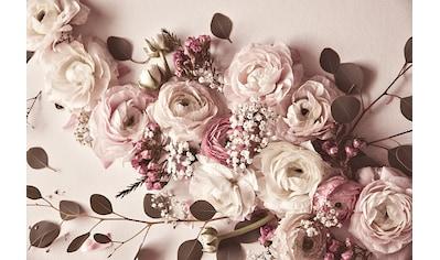 living walls Fototapete »ARTist Flat Lay Flower«, Rosen, Vlies, glatt kaufen