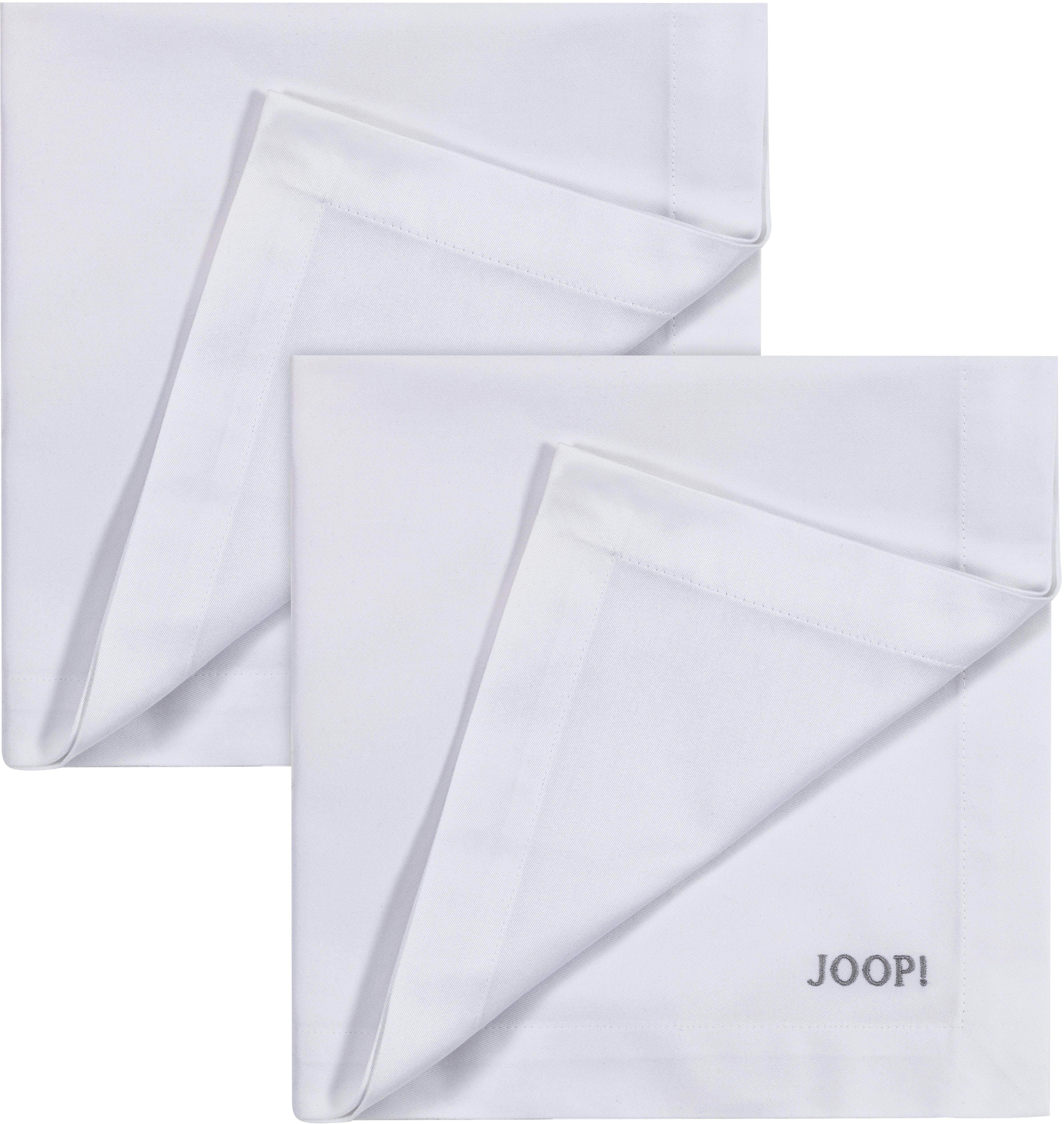 Joop! Joop Stoffserviette STITCH, (Set, 2 St.), In Vollzwirn-Qualität mit JOOP Logo- und Kornblumen-Stickerei silberfarben Stoffservietten Tischwäsche