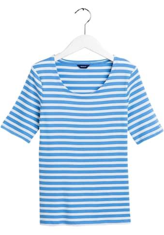 Gant Rundhalsshirt, mit kleiner Logostickerei am Ärmel kaufen