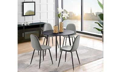 Leonique Essgruppe »Eadwine«, (Set, 5 tlg.), bestehend aus Eadwine Esstisch rund 100 Ø cm und 4 Eadwine Esszimmerstühlen kaufen