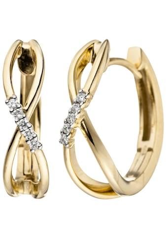 JOBO Paar Creolen, 585 Gold mit 10 Diamanten kaufen