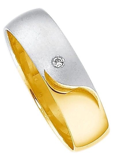 Firetti Trauring mit Gravur Glanz matt Diamantschnitt teilweise rhodiniert | Schmuck > Ringe > Trauringe | Goldfarben | Firetti