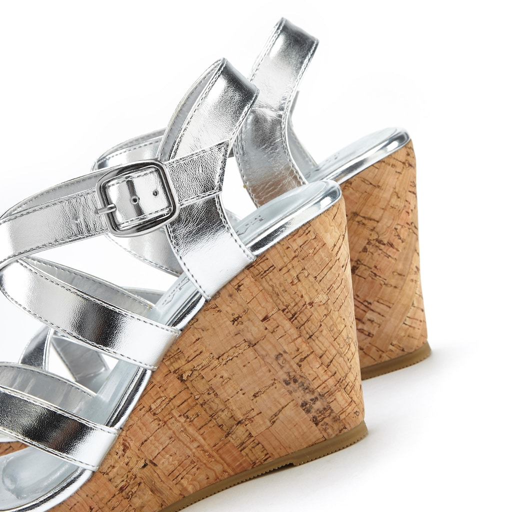 LASCANA High-Heel-Sandalette, mit Keilabsatz im Kork-Look