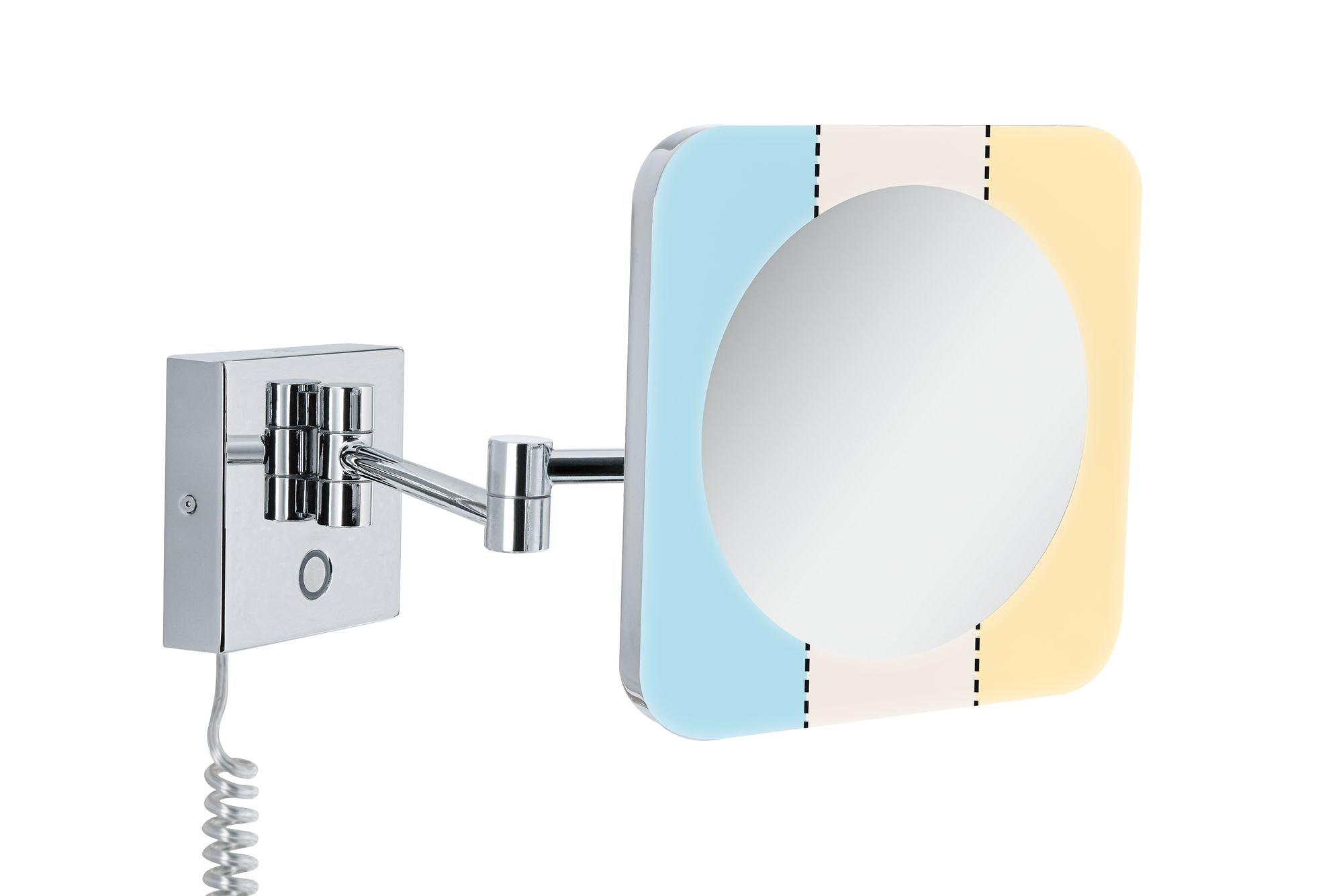 Paulmann LED Wandleuchte HomeSpa Kosmetikspiegel Jora IP44 mit 3-fach Vergrößerung und Tunable White Chrom/Weiß/Spiegel 3,3W 2.700K, 1 St., Tageslichtweiß