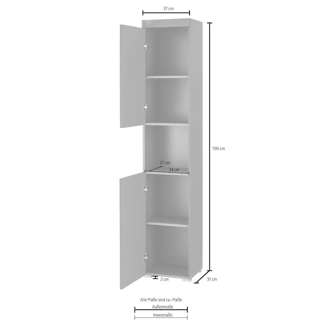 trendteam Hochschrank »Amanda«, Höhe 190 cm, Badezimmerschrank mit 2 Türen und 1 offenen Fach, wechselbare Türanschläge, MDF-Fronten in Hochglanz- oder Holzoptik