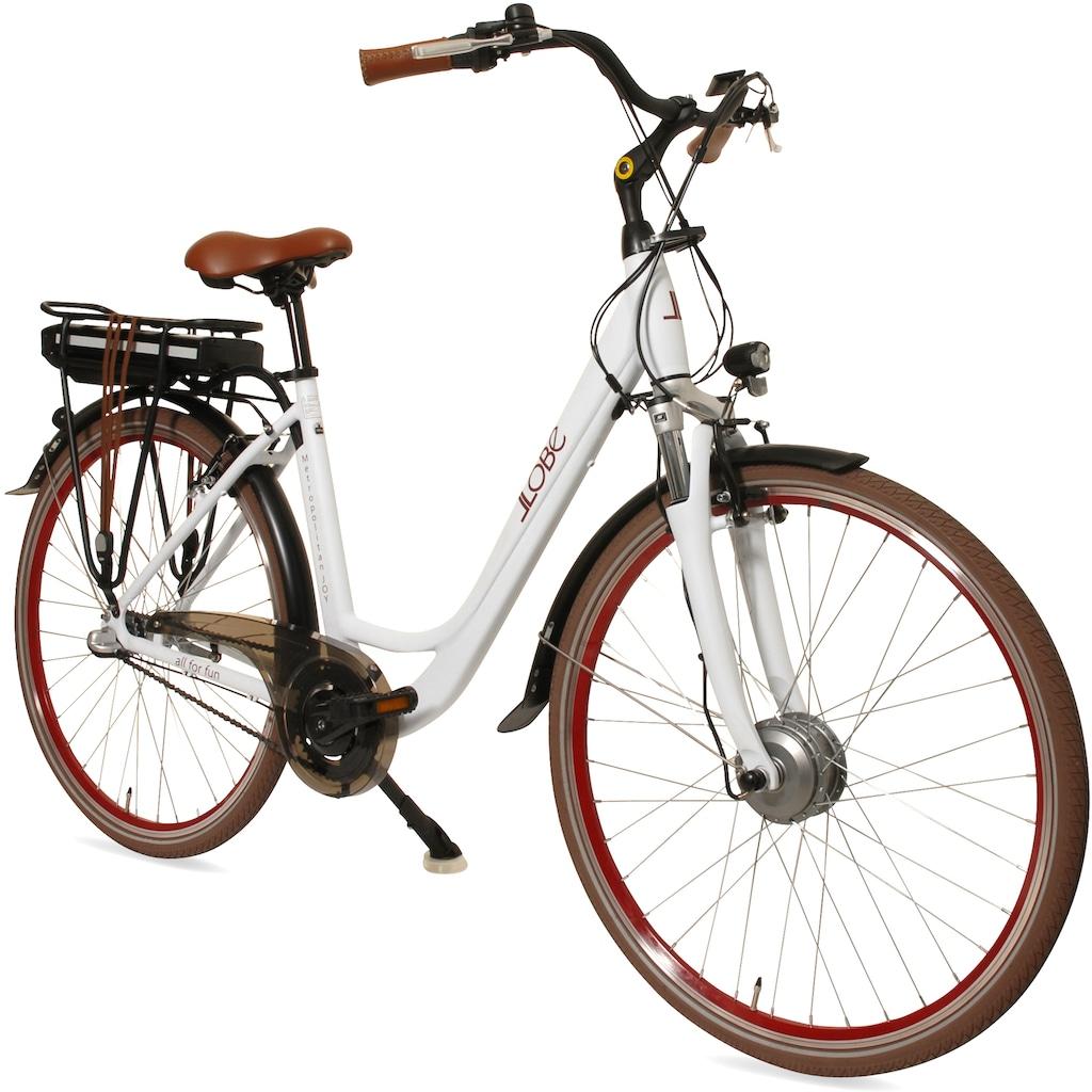 LLobe E-Bike »Metropolitan JOY modernwhite 13 Ah«, (mit Akku-Ladegerät)