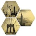 Wall-Art Mehrteilige Bilder »Goldeffekt New York Stadt Set«, (Set, 3 St.)