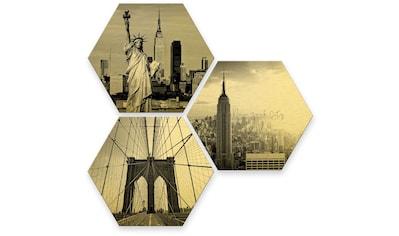 Wall-Art Mehrteilige Bilder »Goldeffekt New York Stadt Set«, (Set, 3 St.) kaufen