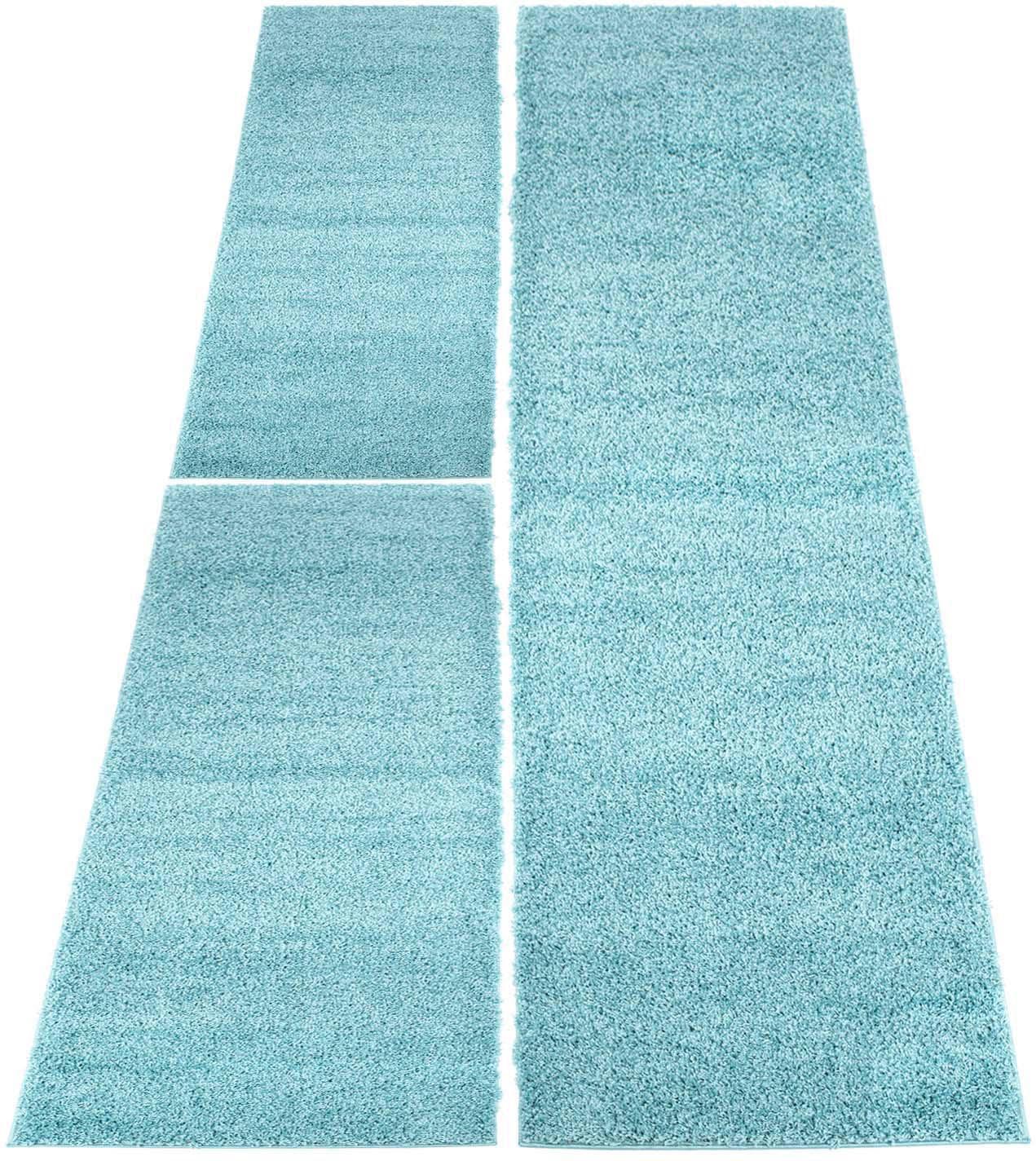 Carpet City Bettumrandung Shaggi uni 500 blau Bettumrandungen Läufer Teppiche