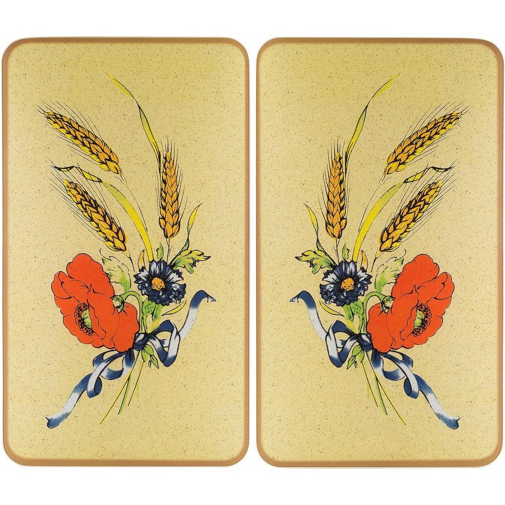 WENKO Herd-Abdeckplatte »Kornblumen«, (Set, 2 tlg.), rutschfesten Spezialfüße