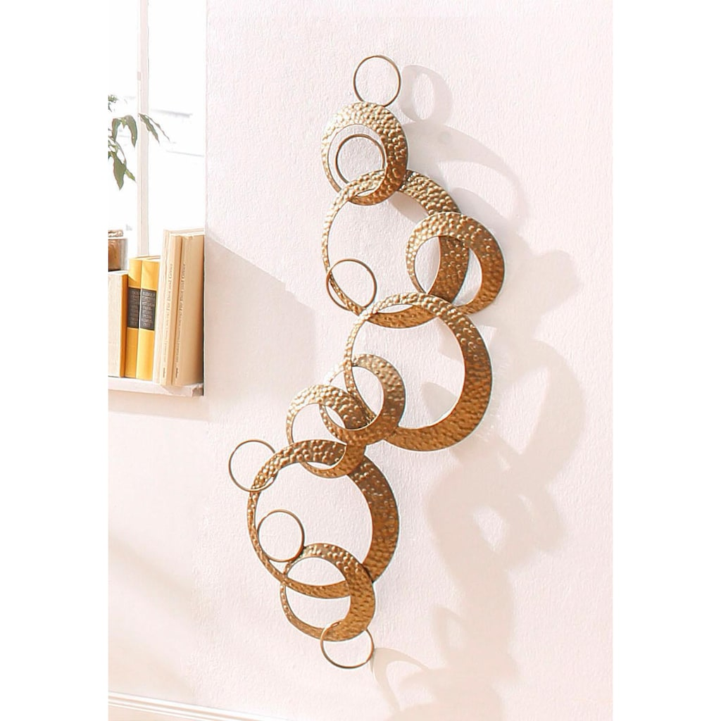 Leonique Wanddekoobjekt »Kreise«, Wanddeko, aus Metall