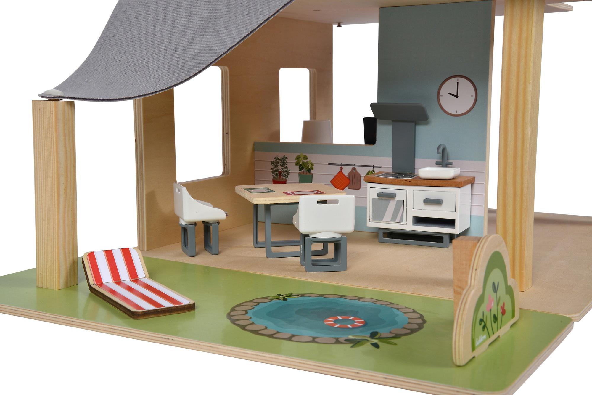 Eichhorn Puppenhaus, mit Möbeln und Spielfiguren bunt Kinder Puppenzubehör Puppen Puppenhaus
