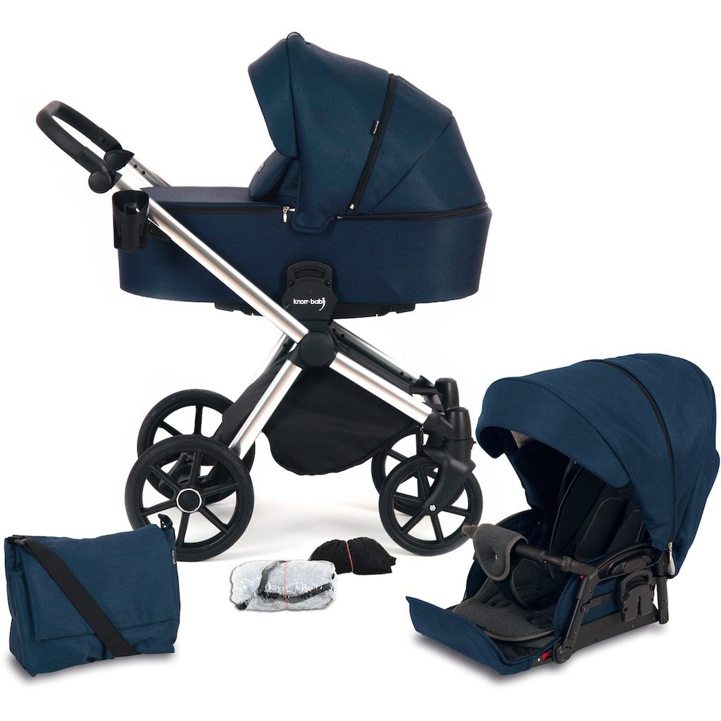Knorrbaby Kombi-Kinderwagen »Life+ 2.0 Silver Edition, Marine-Blau«, 15 kg, Gestell faltbar; Made in Europe; Kinderwagen